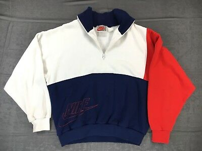 Vintage 80s Nike Women's Size M Red/Blue 1/2 Zip Pullover Sweatshirt Gray Tag