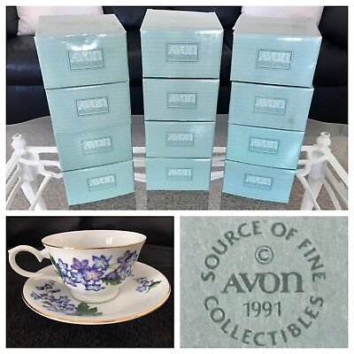 1991 Avon Porcelain Cup & Saucer Blossoms of the Month Collection Set **ALL 12**