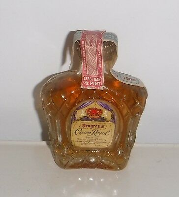 1965 Seagram's Crown Royal Blended Canadian Whiskey Miniature Bottle 1/10