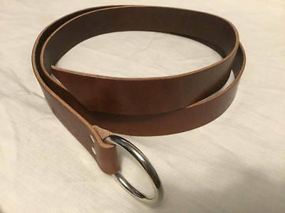"1.5"" Wide Brown Leather Ring Belt  SCA, Cosplay LARP Pirate Faire Viking"