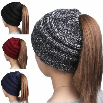 Womens Ponytail Messy Bun Beanie Solid Ribbed Hat Cap for Winter Autumn Fashion