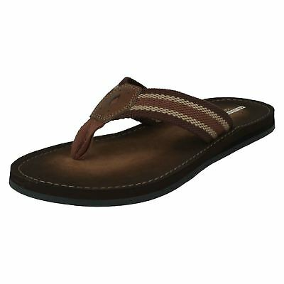 e6e24389d29 MENS CLARKS BOSUN Coast Brown Or Navy Leather Toe Post Flip Flop ...