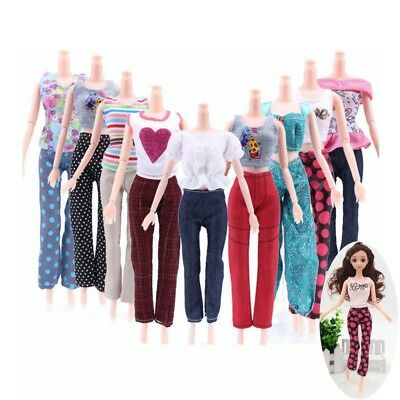 Fashion Girl Casual 5 Tops + 5 Pants Gift Summer Clothes Outfit for Barbie Doll