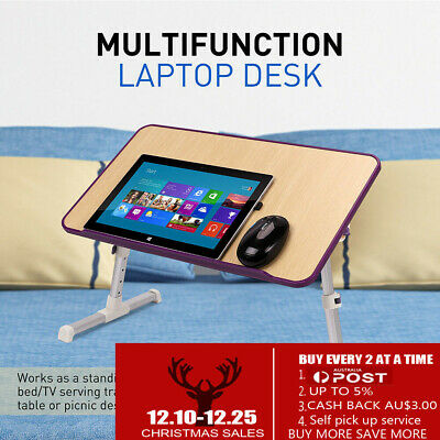 2018 Laptop Desk Wooden e-Table Bed Tray Table USB Cooling Fans