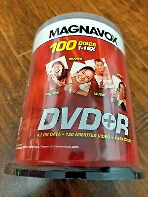 ✔ NEW Magnavox 16X DVD+R 100 Pack Spindle 4.7GB - Sealed NEVER OPENED - NO TAX!