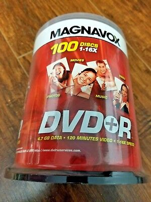 NEW Magnavox 16X DVD+R 100 Pack Spindle 4.7GB - Sealed NEVER OPENED