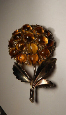 Art Deco Huge Topaz Glass Cab Layered Brooch- Large Heavy Piece
