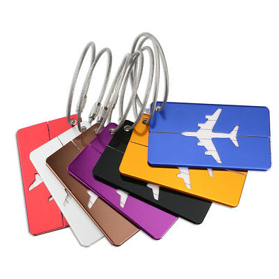 7x Aluminium Luggage Tags Suitcase Label Name Address ID Bag Baggage Tag Travel