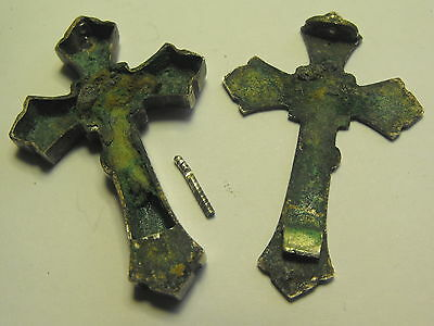 ANTIQUE RELIC IN RELIQUARY PECTORAL CRUCIFIX CROSS STERLING SILVER 17-18 century