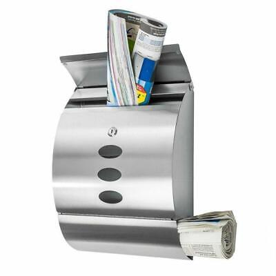 Wall Mount Lockable Mail Box Letter Box Newspaper Roll Storage Stainless Steel