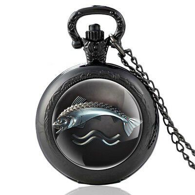 Antique Game Of Thrones Tully Pocket Watch Fish Pattern Pendant Necklace Chain
