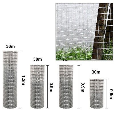 "New 1""x1"" Welded Wire Mesh Fence Animal Chicken Tree Garden Aviary Galvanised"
