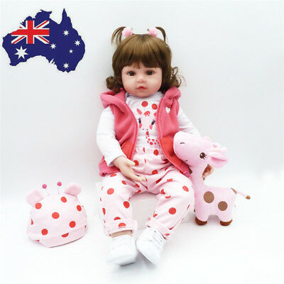 23'' Handmade Full Silicone Body Baby Dolls Newborn Vinyl Reborn Lovely Girl AU