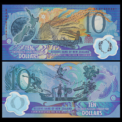 New Zealand 10 Dollars, 2000, P-190b, Polymer, red, UNC>COMM. Millennium 2000