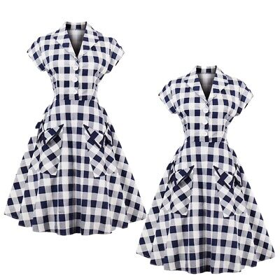 AU Womens Plaid 1950s Rockabilly Vintage Housewife Party Swing Skater Dress Plus