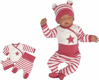 3 Tlg Set Baby Starterset First Outfit 52 56 62 68 100% Cotton Stars