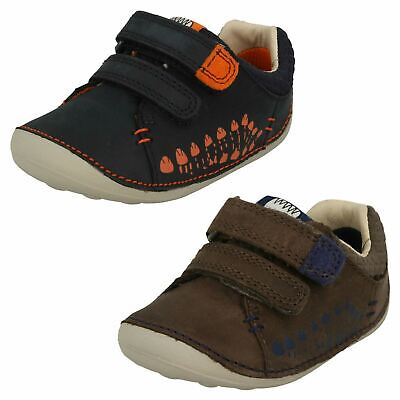 Boys Toddler Clarks Tiny Trail Hook & Loop Casual Leather Pre Walking Shoes Size
