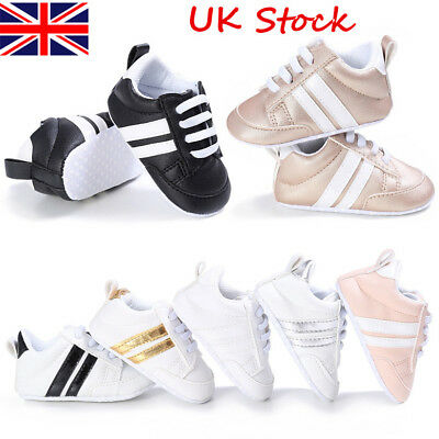 Newborn Baby Boy Girl Pre Walker Soft Sole White Pram Shoes Trainers Size 0-18 M