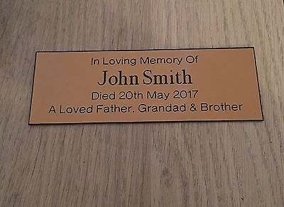 """Personalised Engraved Memorial Bench Plaque 6"""" x 2"""" Gold/Black"""
