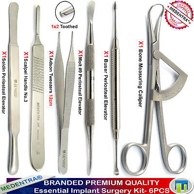 6PCS Dental Implant Surgery Bone Measuring Caliper Periosteal Elevator Forceps