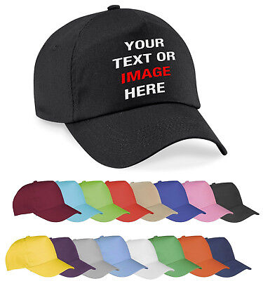 Personalised Custom Printed Embroidered Baseball Cap Hat Unisex Text logo Gift