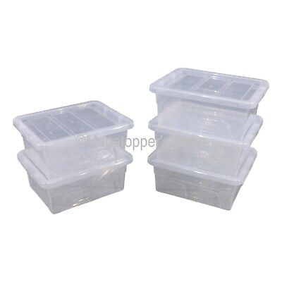 NEW Pack Of 5 Spacemaster 15 Litre Clear Plastic Storage Boxes Box With Lids
