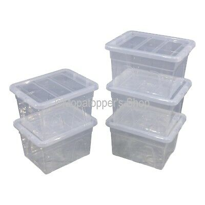 NEW Pack Of 5 Spacemaster 22 Litre Clear Plastic Storage Boxes Box With Lids