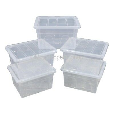 NEW Pack Of 5 Spacemaster 32 Litre Clear Plastic Storage Boxes Box With Lids