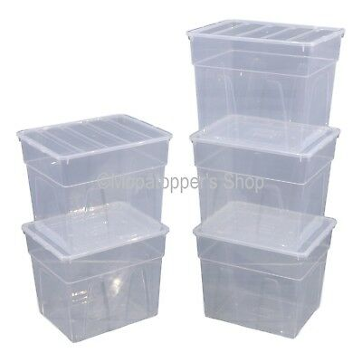 NEW Pack Of 5 Spacemaster 34 Litre Clear Plastic Storage Boxes Box With Lids