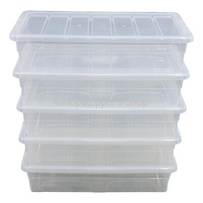 Pack 5 x Spacemaster 40 Litre Clear Plastic Underbed Storage Boxes Box With Lids