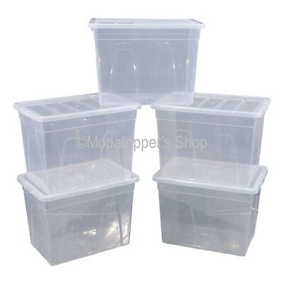 NEW Pack Of 5 Spacemaster 64 Litre Clear Plastic Storage Boxes Box With Lids
