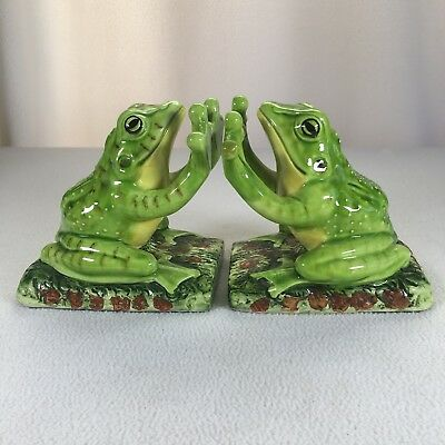 Vintage Frog Bookends Aldon Accesories 1975 Heavy Ceramic 1lb 13oz Each 5.25""