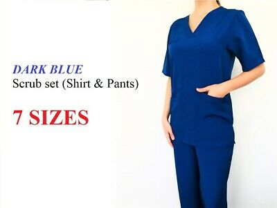 DARK Blue Ladies Nurse Scrub Set Uniform Cotton-Poly Half Sleeve 5 Pocket 7 size