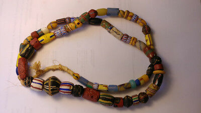 """26"""" strand of 71 antique glass Venetian-made African heirloom trade beads"""