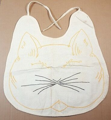 Vintage Embroidered Cat Face Baby Bib