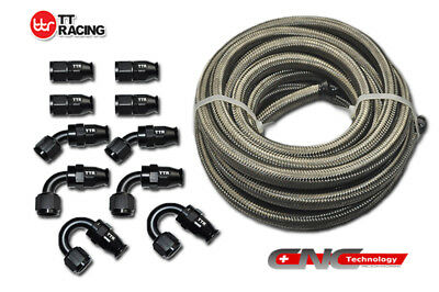 AN-8 8AN Stainless Steel PTFE Fuel Line Hose 6M Black Swivel Fitting Return Kit