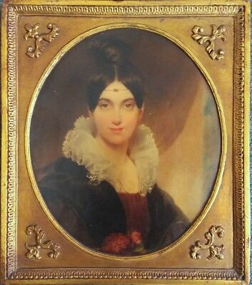 Antique or Vintage Chalkware Framed Painting Reproduction.  BORGHESE Portrait