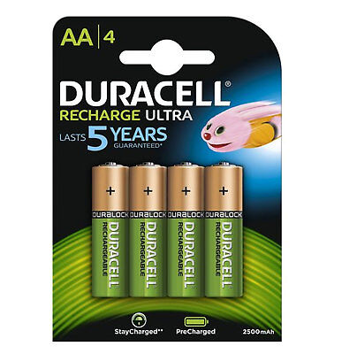 GENUINE DURACELL AA RECHARGEABLE BATTERIES NiMH 2500MAH PRECHARGED HR6 DURALOCK