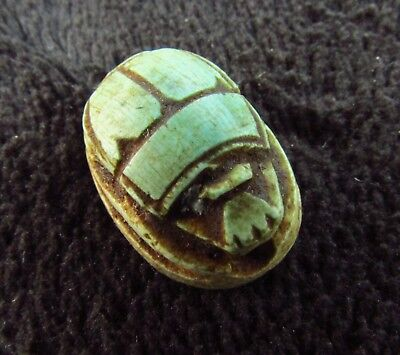 ANCIENT AMULET EGYPTIAN FAIENCE SCARAB BEETLE - HIEROGLYPHS  c. 1500 BC (896+)
