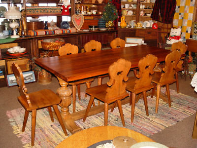Kittinger Farmhouse Swiss Chalet Dining / Refectory Table & Moravian Chair Set