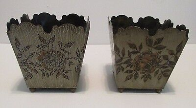 "pr Vintage French Tole Planters 5"" Square Ball Feet Signed Ede´Tin Roses Gray"