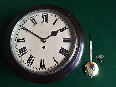 "ANTIQUE DARK MAHOGANY 10"" WIRE FUSEE STATION/OFFICE CLOCK 1930s"
