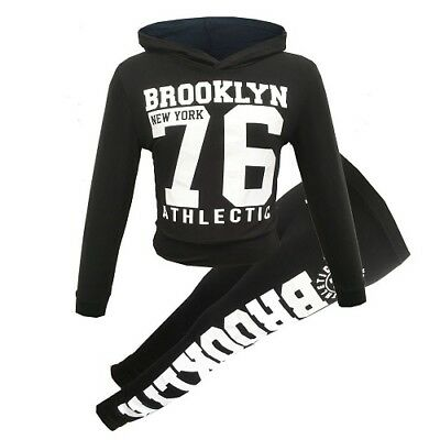 Girls Brooklyn 76 Black Tracksuit Outfit Top Leggings Age 5 6 7 8 9 10 11 12 13