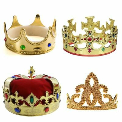 King Crown Princess Tiara Royal Party Medieval Men Queen Prince Adult Kid 4 Pack