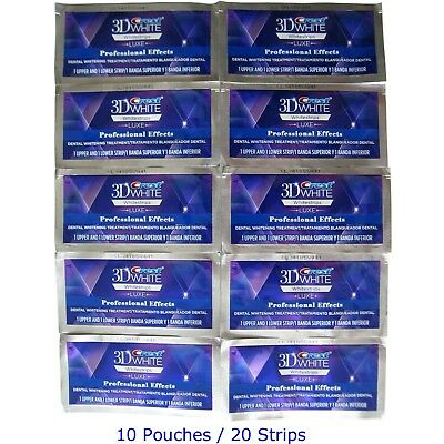 3D Whitestrips Luxe Professional Effects (20 Strips 10 Pouches) (Made in USA)