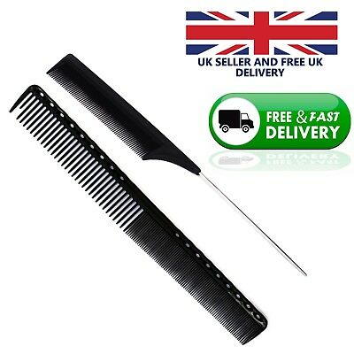 Pair of Fine Cutting Grip Comb-Carbon Hairdressing and Metal Pin tail Comb Black