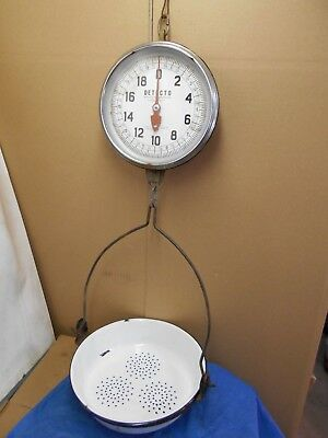 Vintage   Detecto Scale    Hanging Scale 20 LB by the oz. With Porcelain Bin