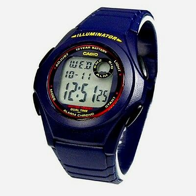 Casio F200W-2A Mens Blue Resin Digital LCD Sports Watch w/ Illuminator NEW