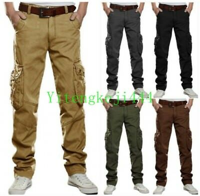 387f371b5f Mens Cotton Windproof Army Travel Tactical Work Pants Pocket Cargo Trousers  New