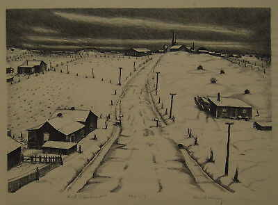 """Merritt Mauzey """"West Texas"""" Lithograph   Member Dallas Nine   Owned by 2 Museums"""